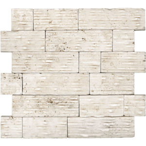 Ivory Travertine Cleft Mosaic