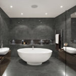 Stark Carbon Marble Tile installed in a bathroom