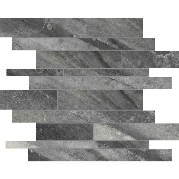 Evolution Carbon Random Strip Porcelain Mosaic