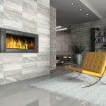 Evolution Sand Porcelain Tile installed on a fireplace