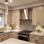 Glitz Brown glass mosaic installed as a kitchen backsplash