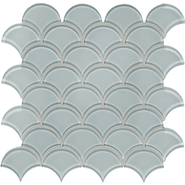 Element Cloud Glass Tile Scallop Mosaic
