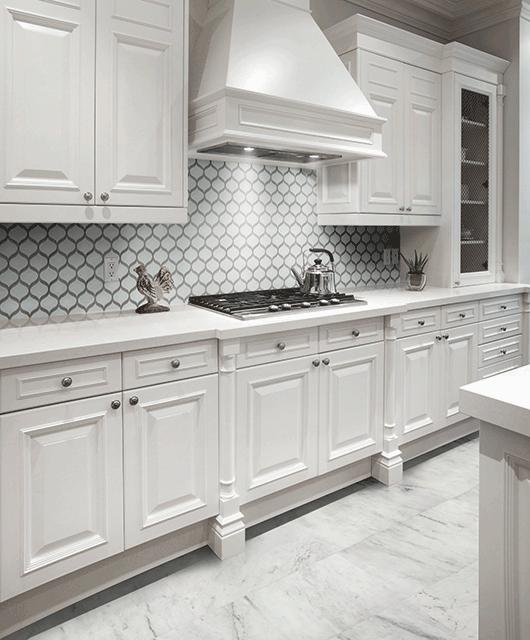 Arabesque Tiles Kitchen Wall: Element Ice Arabesque Glossy
