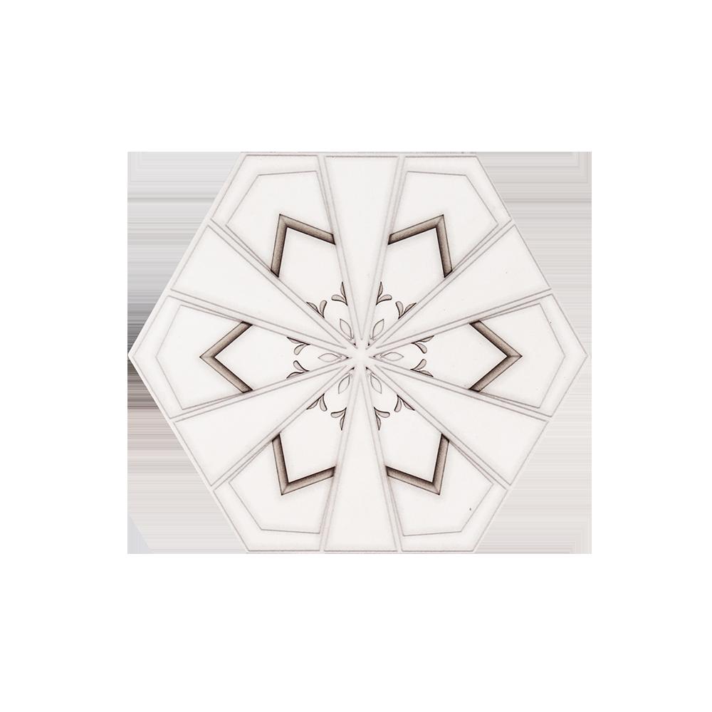 "8"" Hexagon - Geode - Drawn Stone - 8 x 9.25 - (11958)"