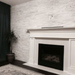 Alaska White Splitface installed as an accent wall