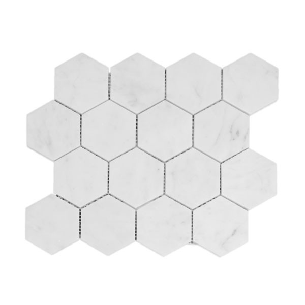 Bianco Carrara 3 inch hexagon marble mosaic