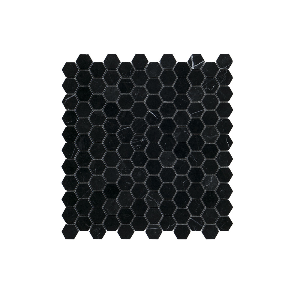 "Jeffrey Court 1"" Hexagon Mosaic - Nero Marquina"