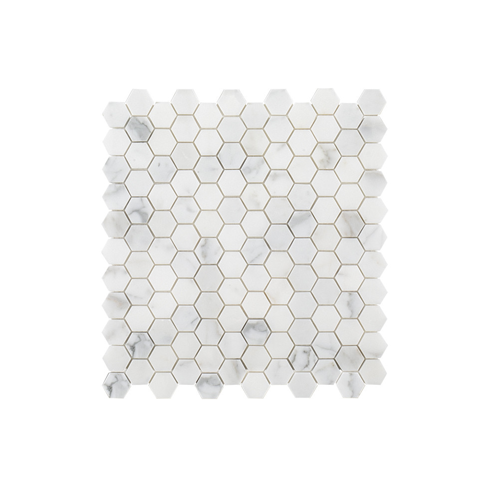 "Jeffrey Court 1"" Hexagon Mosaic - Calacatta Gold"