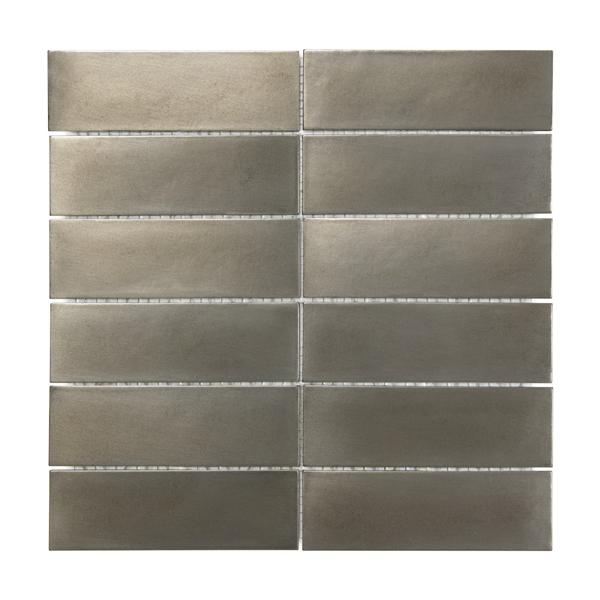 Satin Metal Nickel 2x6 Stacked Brick Mosaic