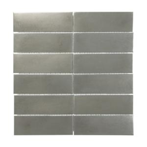 Satin Metal Pewter 2x6 Stacked Mosaic