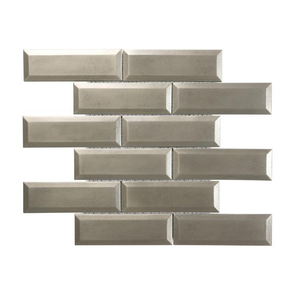 Satin Metal Nickel Beveled 2x6 Brick Mosaic