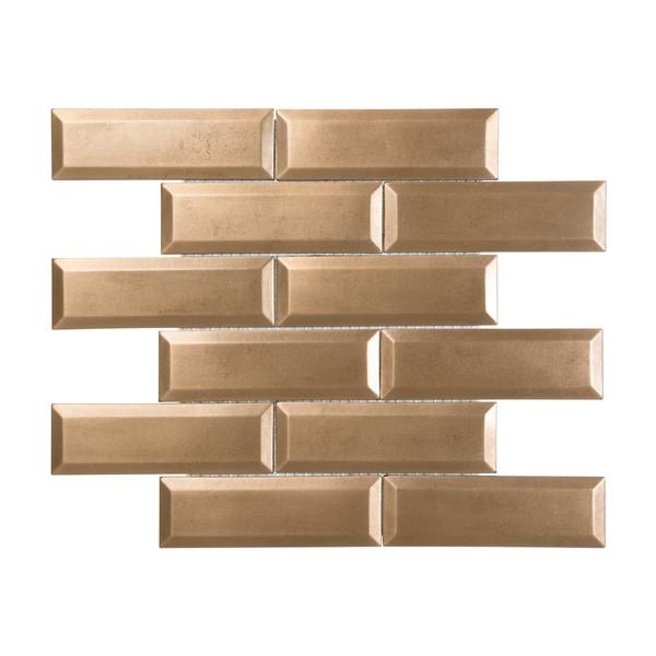 Satin Metal Bronze 2x6 Beveled Brick Mosaic