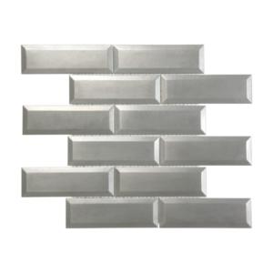 Satin Metal Pewter Beveled 2x6 Brick Mosaic
