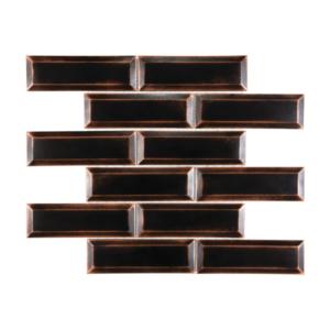 Satin Metal Oil Rubbed Bronze Beveled 2x6 Brick Mosaic