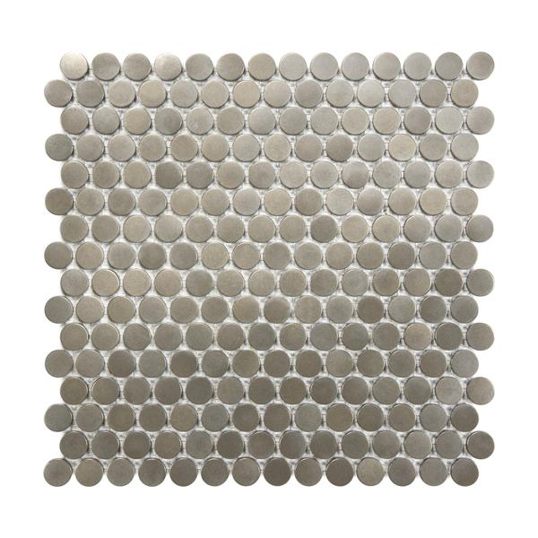 Satin Metal Nickel Penny Round Mosaic