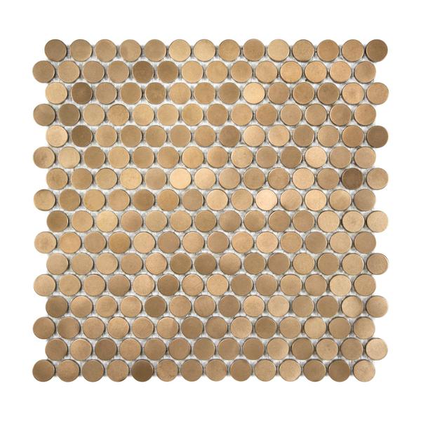 Satin Metal Bronze Penny Round Mosaic