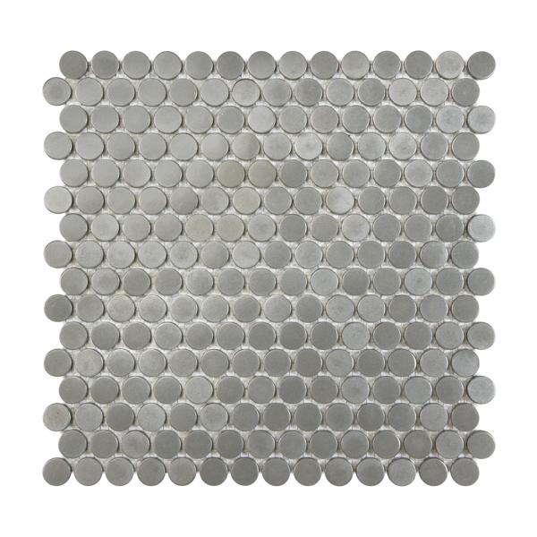 Satin Metal Pewter Penny Round Mosaic