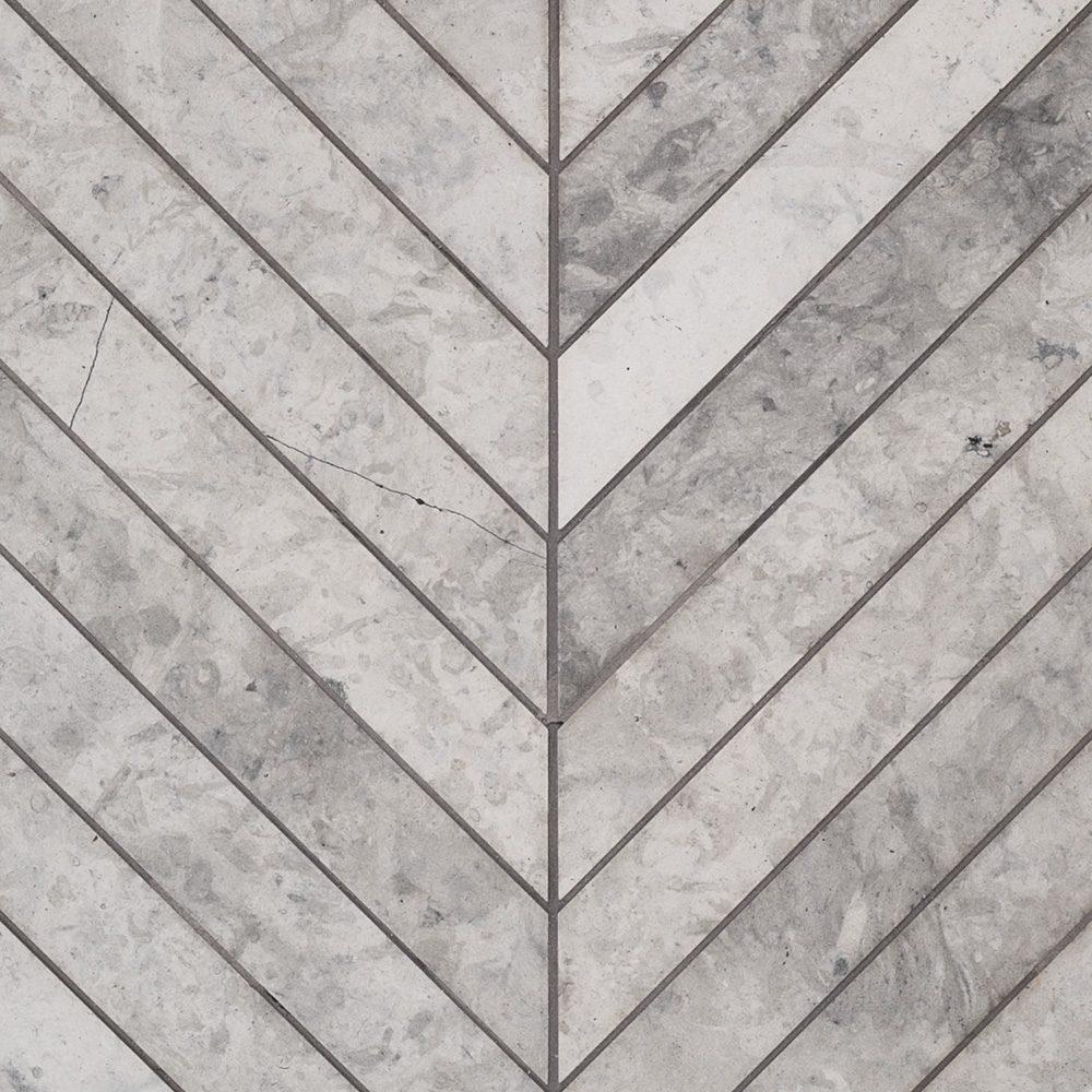 Jeffrey Court Chevron Mosaic Tunisian Grey Tile Stone