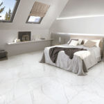 Falakro White HD Porcelain Tile installed in a bedroom