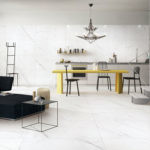 Falakro White Porcelain Tiles installed in an open concept kitchen and living room