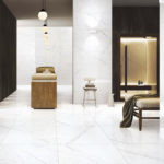 Falakro White HD Porcelain Tile installed in a commercial spa