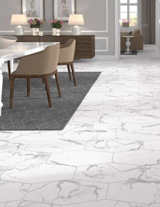 Jeffrey Court 53rd Avenue Arctic Stone Porcelain Hexagons installed