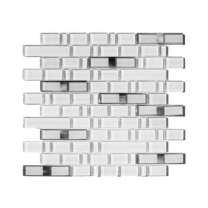 Chrome Bamboo Glass Mosaic in White