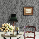 Fabric Dark Herringbone Glass Mosaic installed on a wall