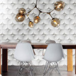 Wave White 3D Cement Tile installed on a dining room wall