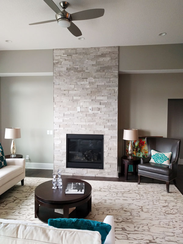 Ritz Gray Marble Cubic Ledgestone Fireplace Install Tile