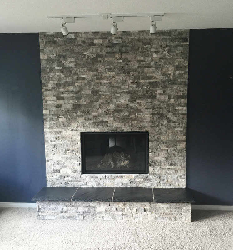 Silver Travertine Splitface Ledgestone Fireplace Install Tile