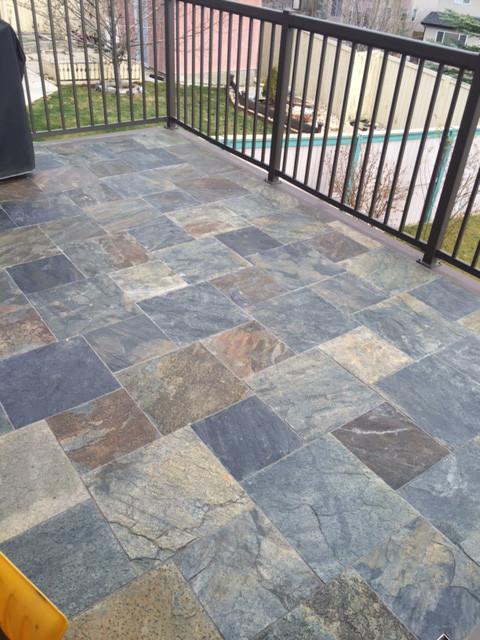 Honey Gold Slate : Honey gold slate installed on a deck sale tile stone