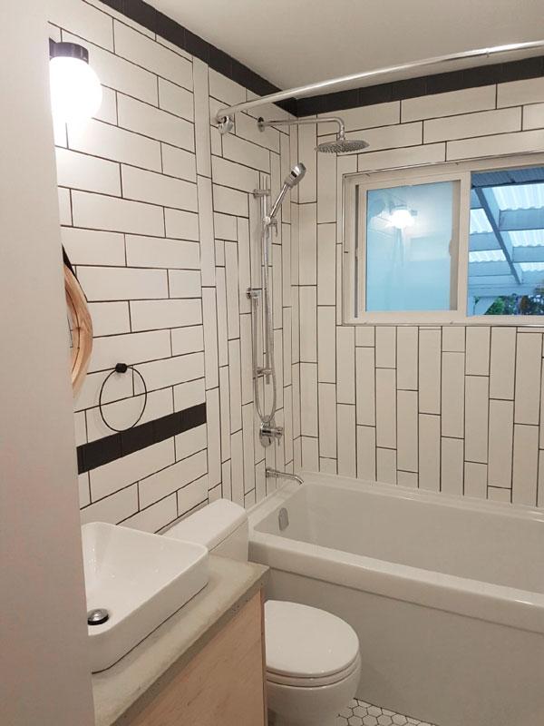 Soho White 4x16 Matte Subway Tile Installed In A Bathroom